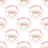 February 14, Valentines Day Breakfast seamless pattern. Latte Art Heart, cup of hot coffee Royalty Free Stock Images