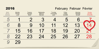 February 14, 2016 Valentines Day calendar Royalty Free Stock Images