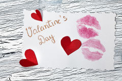 February 14 Valentines day - heart from red paper Royalty Free Stock Photos
