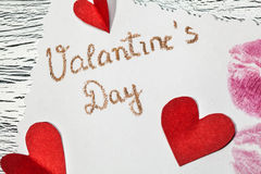 February 14 Valentines day - heart from red paper Royalty Free Stock Image