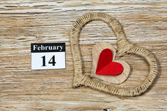 February 14 Valentines day - heart from red paper. February 14, on the calendar, Valentine's day, heart from red paper Royalty Free Stock Photos