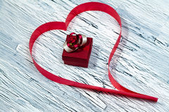 February 14 Valentines day - heart from red ribbon. February 14, giftbox, Valentine's day, heart from red ribbon Stock Photography
