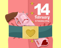 14 February. Valentines day. Military clothing and a strap with. Buckle. Gold heart belt buckle. Arms of love. Army of love. Gun loaded hearts. Love gun royalty free illustration