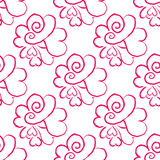 February 14, Valentines Day seamless pattern. Hand drawn heart doodle Stock Image