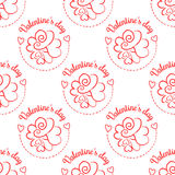 February 14, Valentines Day seamless pattern. Hand drawn heart doodle Royalty Free Stock Photo