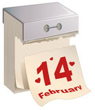 February 14 Valentines Day. Tear-off calendar Royalty Free Stock Photos