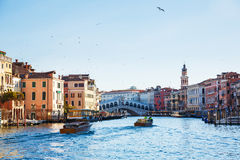 February 25, 2017. Venice`s landscape overlooking the Ponte di R Royalty Free Stock Photography
