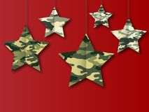 23 February and victory day. Background with stars colors camouflage military Vector Illustration