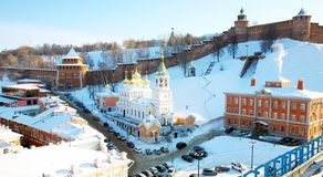February view Kremlin Nizhny Novgorod Stock Photos