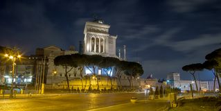 February 2018: Vittorio Emanuele II Monument in Rome, Italy. February 2018: side, night exposure of the Vittorio Emanuele II Monument in Rome, Italy Stock Photo
