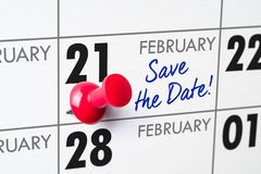 February 21. Wall calendar with a red pin - February 21 stock images
