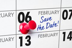 February 06. Wall calendar with a red pin - February 06 stock photo