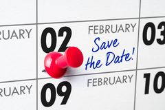 February 02. Wall calendar with a red pin - February 02 stock photo