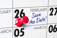 February 26. Wall calendar with a red pin - February 26 royalty free stock images
