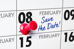 February 08. Wall calendar with a red pin - February 08 royalty free stock image
