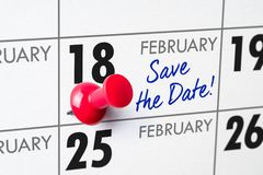 February 18. Wall calendar with a red pin - February 18 royalty free stock photo