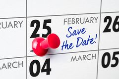 February 25. Wall calendar with a red pin - February 25 royalty free stock image