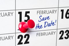 February 15. Wall calendar with a red pin - February 15 royalty free stock image