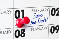 February 01. Wall calendar with a red pin - February 01 stock photography