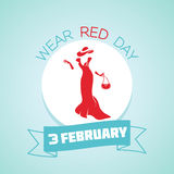 3 February  Wear Red Day. Calendar for each day on February 3. Greeting card. Holiday - Wear Red Day. Icon in the linear style Royalty Free Stock Photography