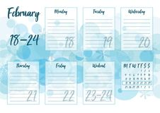 February 2019 Weekly planner. Vector illustration of February 2019 Weekly planner with abstract winter background - snow and snowflakes. For print notebooks Stock Photo