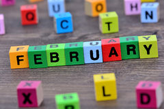 February word on table Royalty Free Stock Photo