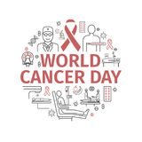 February 4, World Cancer Day. Infographics Banner. Line icons set. Vector signs. February 4, World Cancer Day. Infographics Banner. Line icons set. Vector sign Royalty Free Stock Image