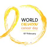 15 of February World Childhood Cancer Day vector illustration. Tape for the World Children`s Day cancer patients. Watercolor golden crayon Hand drawn ribbon stock illustration