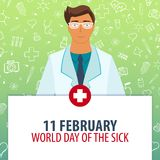 11 February. World day of the Sick. Medical holiday. Vector medicine illustration. 11 February. World day of the Sick. Medical holiday. Vector medicine Stock Image