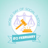 20 February  World Day of Social Justice. Calendar for each day on February 20. Greeting card. Holiday - World Day of Social Justice. Icon in the linear style Stock Photography