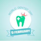 9 February World Dentist Day. Calendar for each day on February 9. Greeting card. Holiday - World Dentist Day. Icon in the linear style royalty free illustration