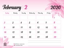 February 2020 Year Template, Calendar 2020 Vector, Desk Calendar Design, pink flower concept for cosmetics, beauty, spa, business. Week Start On Sunday vector illustration