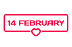 14 februery flat icon. Valentine`s Day dialog bubble heart stamp Royalty Free Stock Images