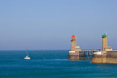 Fecamp harbor entrance Royalty Free Stock Photo