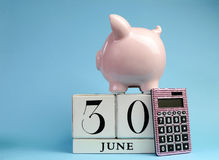 Fecha civil para el final del ejercicio presupuestario, el 30 de junio, para el ejercicio fiscal australiano o las ventas al por m Fotos de archivo libres de regalías