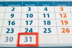 Fecha de día de año nuevo en calendario Imagen de archivo