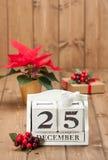 Fecha de día de la Navidad en calendario 25 de diciembre Imagen de archivo libre de regalías