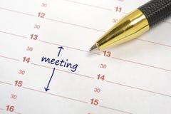 Fecha de la reunión fotos de archivo