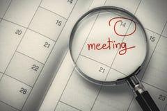 Fecha de la reunión Fotografía de archivo