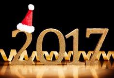 Fecha de lujo del Año Nuevo del oro 2017 Imagen de archivo libre de regalías