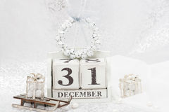 Fecha del Año Nuevo en calendario 31 de diciembre Navidad Foto de archivo libre de regalías