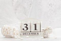Fecha del Año Nuevo en calendario 31 de diciembre Navidad Imágenes de archivo libres de regalías