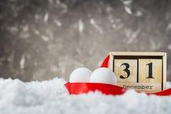 Fecha del Año Nuevo en calendario el 31 de diciembre Imágenes de archivo libres de regalías