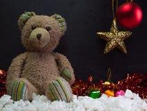 Fecha del Año Nuevo, oso de peluche Fotografía de archivo