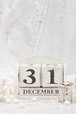 Fecha del Año Nuevo en calendario 31 de diciembre Navidad Fotos de archivo libres de regalías