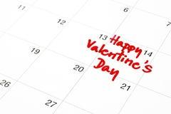 Fecha del 14 de febrero en el calendario, el día de tarjeta del día de San Valentín Fotografía de archivo
