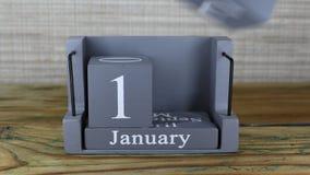 fecha 15 en el calendario de madera del cubo por los meses de enero almacen de video