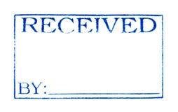 Fecha recibida: Impresión del sello de goma aislada en pizca Foto de archivo libre de regalías