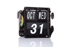 Fecha retra del calendario mecánico aislada Imagen de archivo