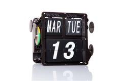 Fecha retra del calendario mecánico aislada Fotos de archivo libres de regalías